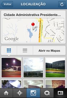 Mapa de lugares no Instagram