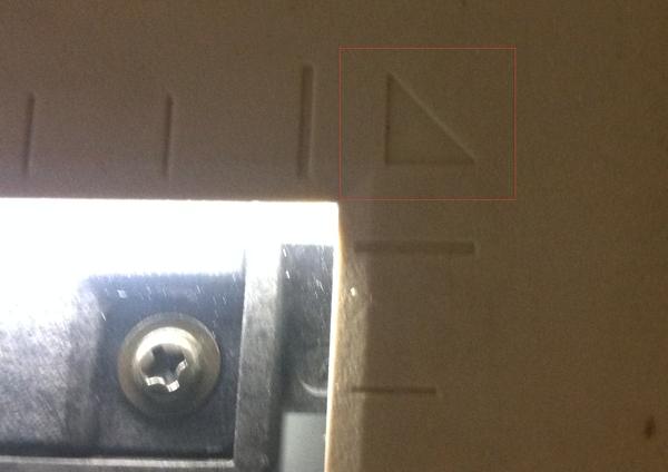 Scanner Orientation marks next to platen