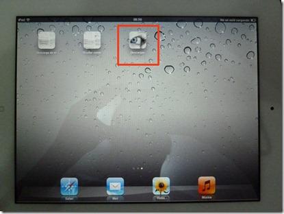 Escritorio del iPad con dos iconos no reconocibles y un tercer icono con el logotipo de mi página fácilmente reconocible