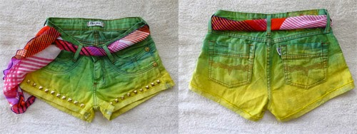 Ideias para customizar short jeans para Copa do Mundo Brasil - short ombre
