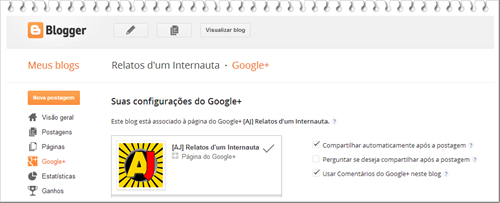 Painel Google+ Blogger