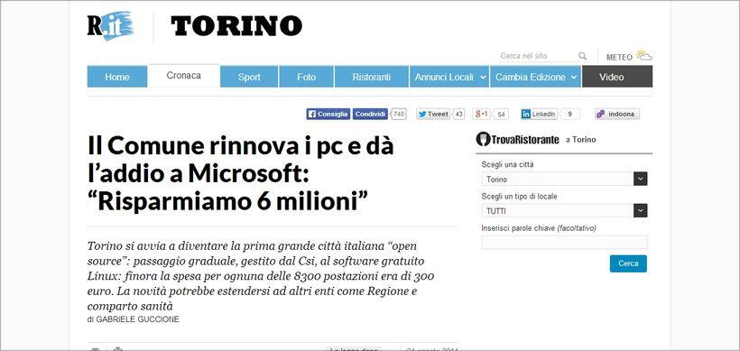 Torino passa a Linux