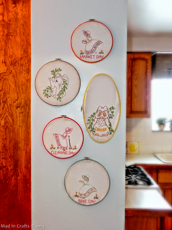 vintage tea towels in hoops