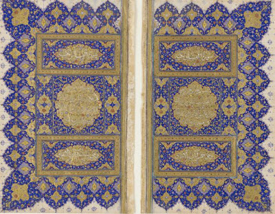 Illuminated double-folio for a Koran | Origin:  Probably Shiraz,  Fars,  Iran | Period: circa 1550-1575  Safavid period | Details:  The Koran-the unadulterated word of God for Muslims-is the most revered text in the Islamic world, and no effort was spared in its embellishment. Korans made in sixteenth-century Iran frequently begin and end with a double-folio of intricate designs rendered with paints made from gold and lapis lazuli, the semi-precious stone. This double-folio is inscribed with the last two chapters of the Koran, entitled al-Falaq (Dawn) and al-Nas (Mankind), and would have appeared at the end of the manuscript. | Type: Opaque watercolor, ink and gold on paper | Size: H: 21.5  W: 12.7  cm | Museum Code: S1986.86.1-2 | Photograph and description taken from Freer and the Sackler (Smithsonian) Museums.