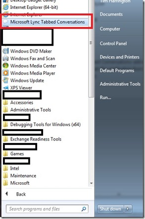 lync add-in - tabbed- start