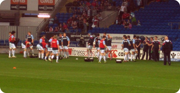 Cardiff Blues, warm-up, rugby