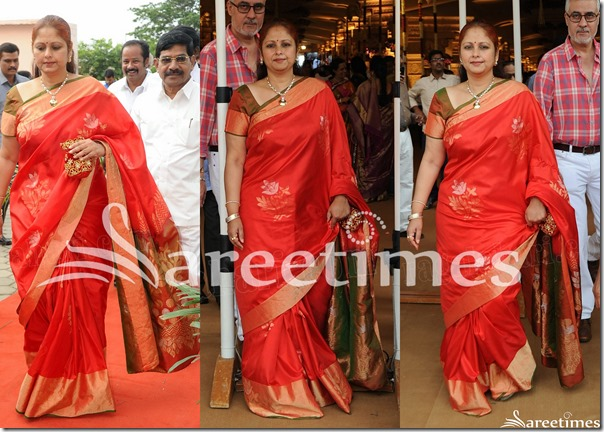 Jayasudha_Red_Silk_Saree