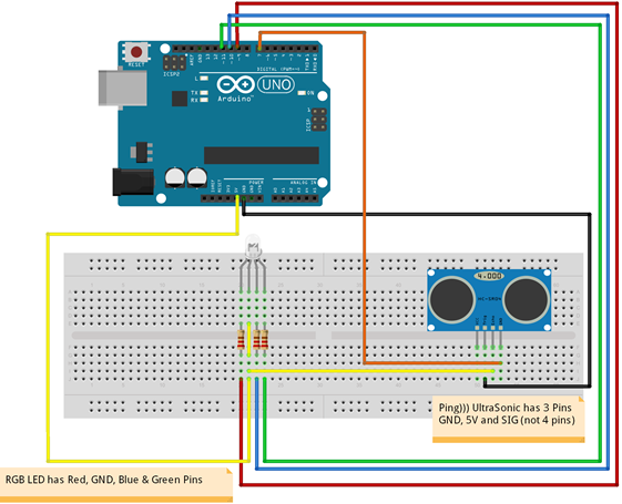 Arduino project ultrasonic sensor to control rgb led light