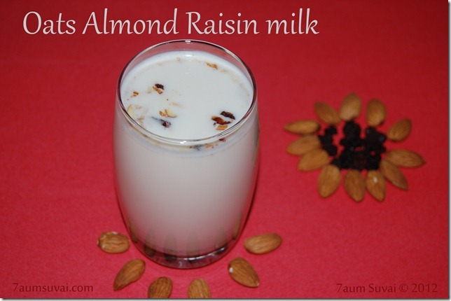 Oats almond raisin milk