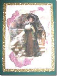 2011 Holiday.Christmas cards lady with muff gold