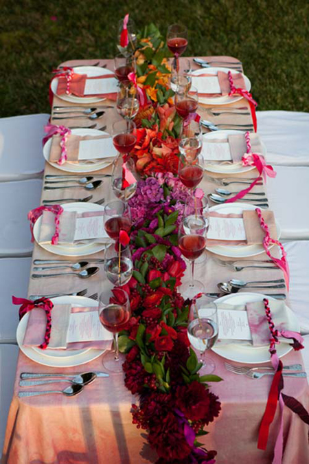 ombre tablescape wedding reception