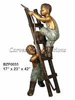 2 Boys with Ladder & Hose Fountain