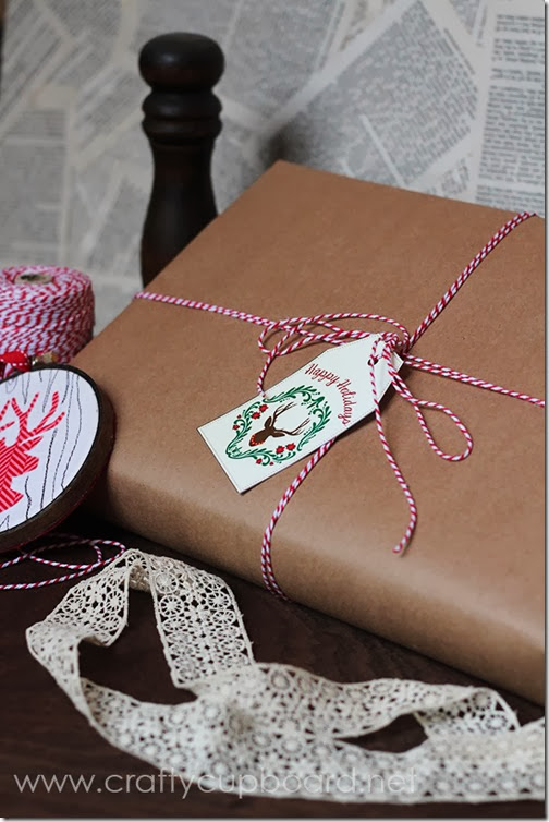 Rustic Gift Wrapping and Free Gift Tags by The Crafty Cupboard