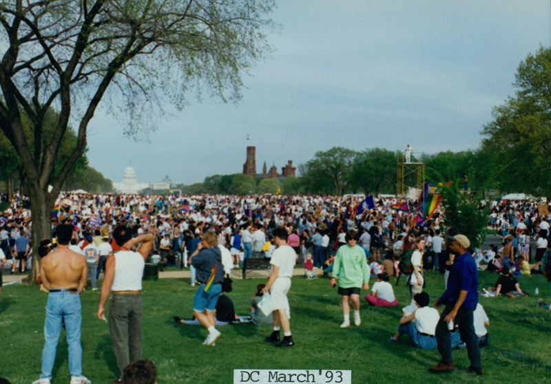 Crowd gathers at the National Mall with the U.S. Capital Building in the background at the March on Washington for Lesbian, Gay, and Bi Equal Rights and Liberation. April 25, 1993.
