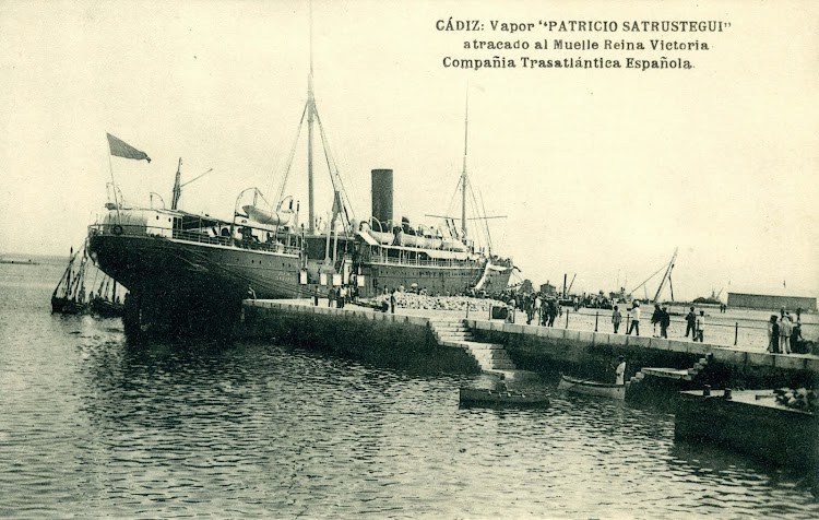 Aunque la postal indica al STRUSTEGUI, es en realidad el LEON XIII atracado en Cadiz. Postal.jpg