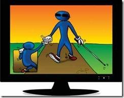 Ilustração estilizada de uma pessoa cega segurando a mão de uma criança