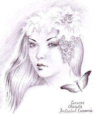 Portretul toamnei desen in creion