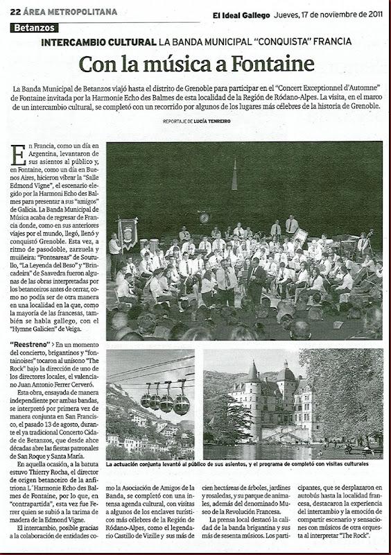 """Recorte del periódico """"El Ideal Gallego"""" correspondiente al jueves 17 de noviembre de 2011"""