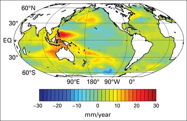 Sea level trends for the period 2003–2013. Graphic: Commonwealth Scientific and Industrial Research Organization (CSIRO) Marine and Atmospheric Research, Australia