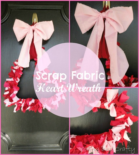 Scrap Fabric Heart Wreath