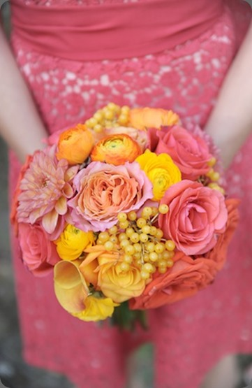 Coral Bridesmaid Bouquet KJ  Laura Murray Photography and cori cook floral design
