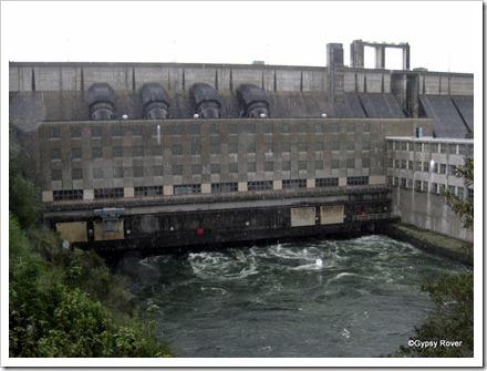 Whakamaru dam power station near Mangakino. It was raining heavily at the time.