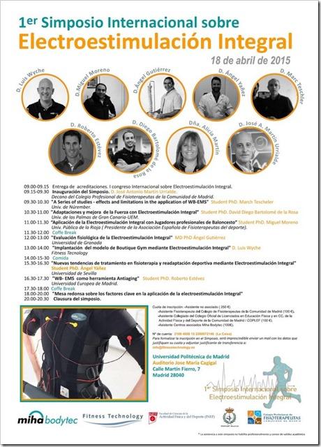 1º Simposio Internacional sobre Electroestimulación Integral en la Universidad Politecnica de Madrid, 18 abril 2015