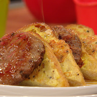 Black Pepper Reggiano French Toast with Italian Sausage Patties and Warm Honey