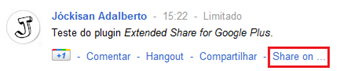 Teste do plugin Extended Share for Google Plus