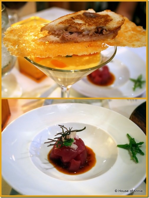Alan Wong's Appetizer Trio kalua pork slider tomato gazpacho ahi poke