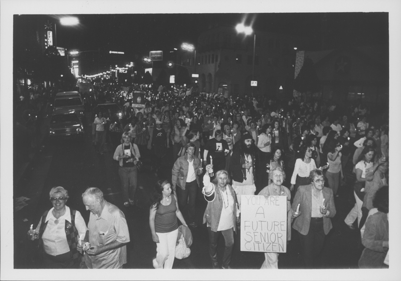 Crowd marching in the streets at the Women Take Back the Night march. April 19, 1980