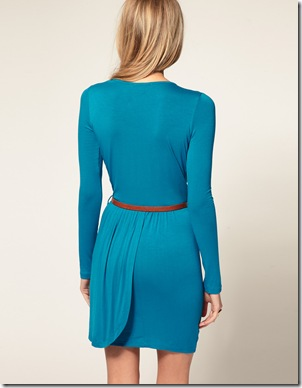 Exclusive Long Sleeve Belted Wrap Front Dress1