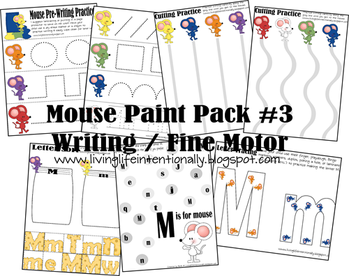 Intorduce Preschoolesr to Writing / Fine Motor with Mouse Paint Printables
