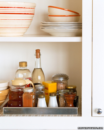 Pantry cabinets need their contents taken out periodically so shelves can be wiped down. It's also a good time to reorganize them and throw out expired items.