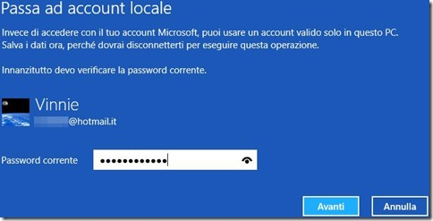 Windows 8 verificare account Microsoft
