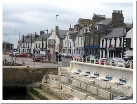 Macduff harbour. The locals must enjoy sitting out watching the boats.