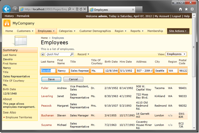 Default 'grid1' view template for Employees in Code On Time web application