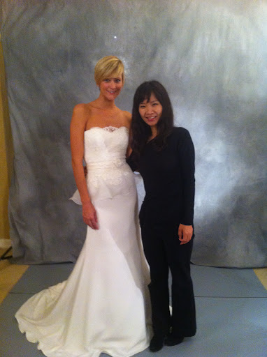 Here, the designer with one of her dresses.