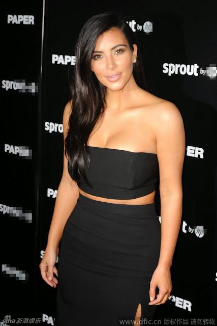 Kardashian wrapped chest sexy fashion show Haoru sweet smile