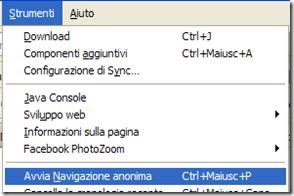 Firefox Strumenti-Avvia Navigazione anonima