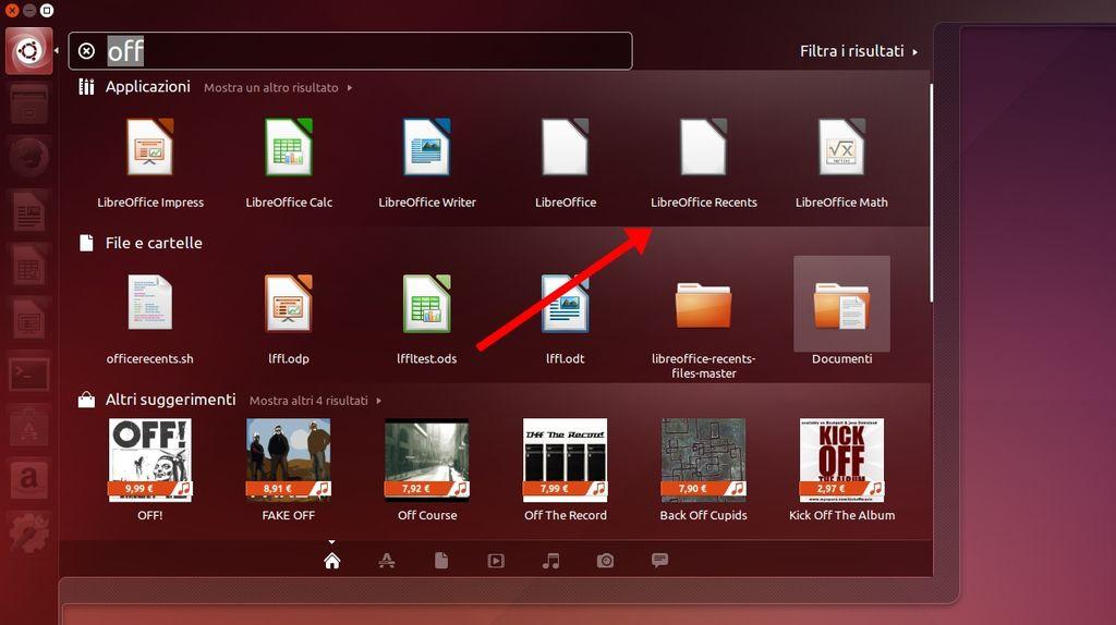 LibreOffice Unity Recents Files - collegamento nel Dash