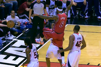 lebron james nba 131223 mia vs atl 03 LeBron James Wears 3 Shoes in 1 Game. Puts Milsap on a Poster.