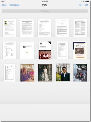 Some handouts in iBooks (top row)