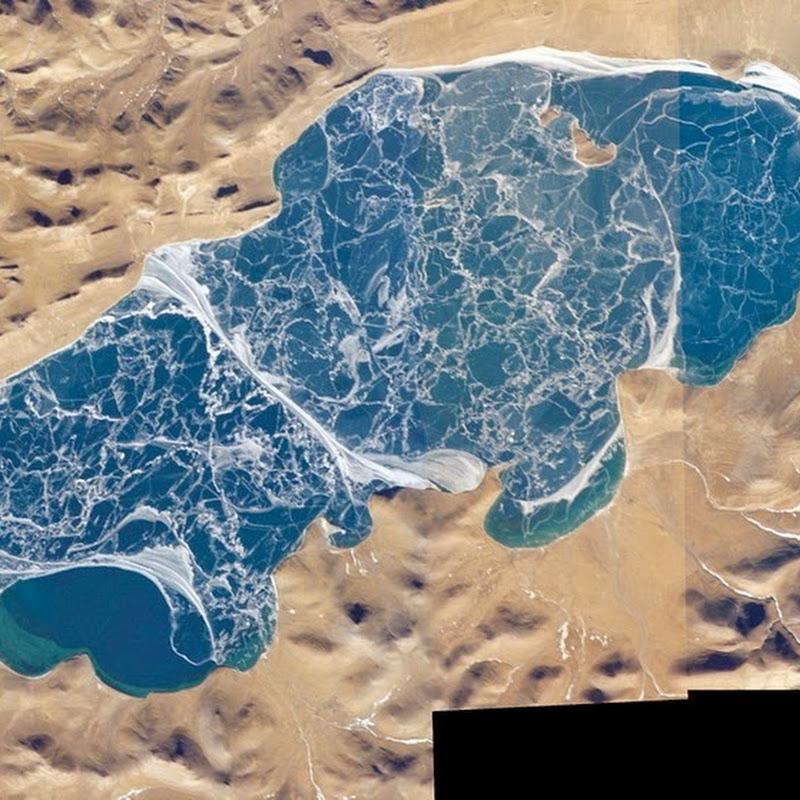 Intricate Ice Crack Patterns on Lake Puma Yumco