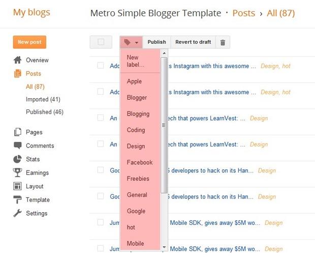 Sử dụng tính năng nhãn của Blogger