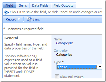 Field detail form in the Project Browser.