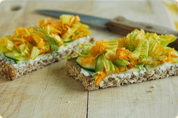 zucchini blossom sandwiches