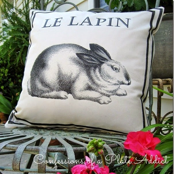 CONFESSIONS OF A PLATE ADDICT Ballard Inspired Vintage French Bunny Pillow