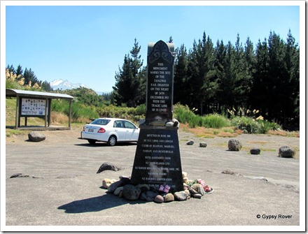 In 1953 151 lives were lost in the Tangiwai train crash. This memorial was erected in 1989.