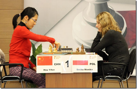 Hou Yifan vs Monika Socko, Round 2, Women's World Ch 2012